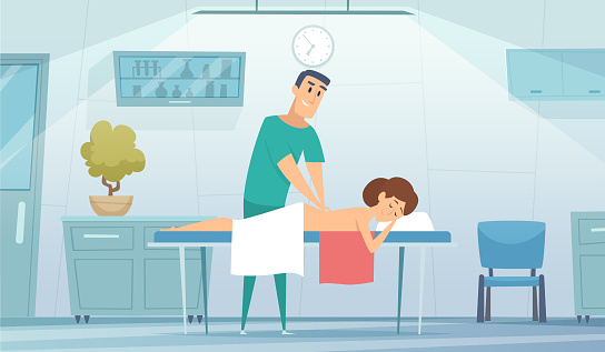 Massage room. Nurse works with patient. Medical rehabilitation of athletes, muscle warming. Girl on couch in doctor office vector illustration