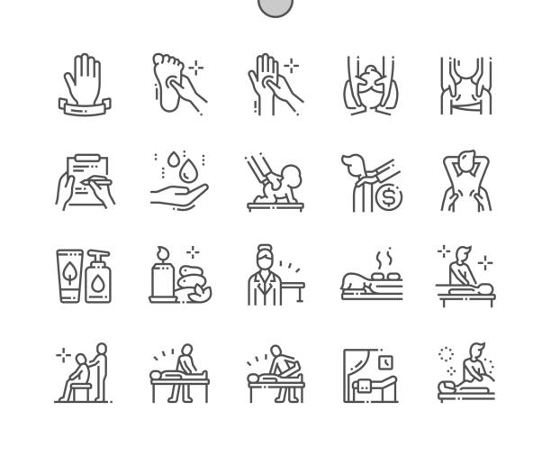 Massage salon Well-crafted Pixel Perfect Vector Thin Line Icons 30 2x Grid for Web Graphics and Apps. Simple Minimal Pictogram Massage salon Well-crafted Pixel Perfect Vector Thin Line Icons 30 2x Grid for Web Graphics and Apps. Simple Minimal Pictogram massage stock illustrations