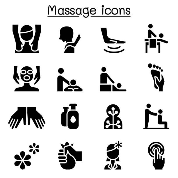 massage, spa & alternative therapy icon set illustration graphic design - massage stock illustrations