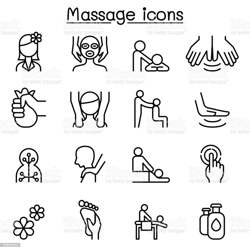 Massage & Spa icon set in thin line style vector art illustration