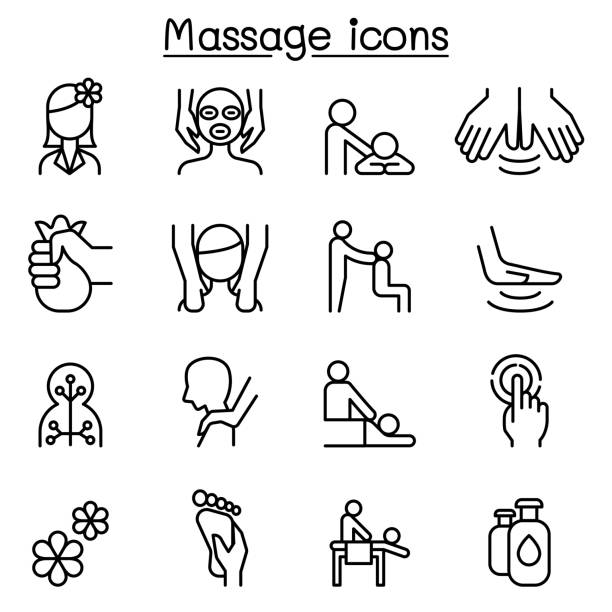 massage & spa icon set in thin line style - massage stock illustrations