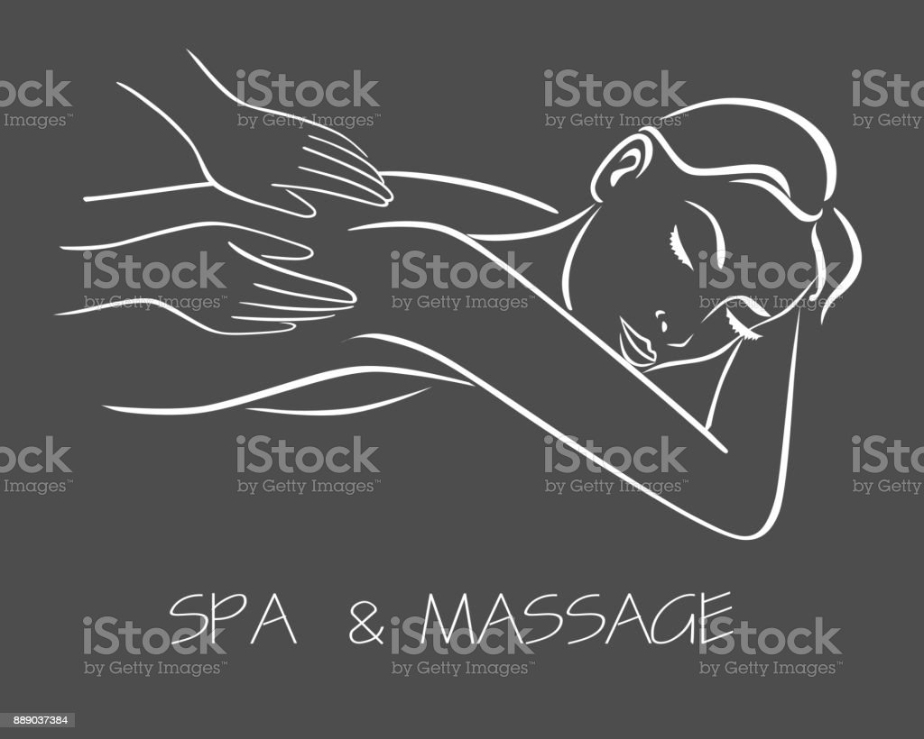 massage spa therapy line drawing vector art illustration