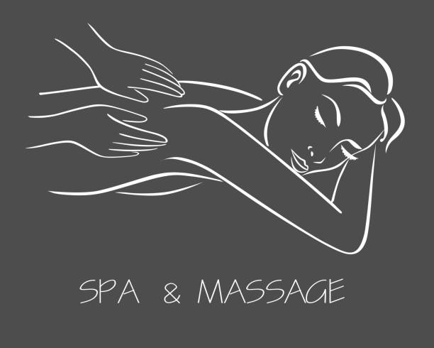 massage spa therapy line drawing - massage stock illustrations