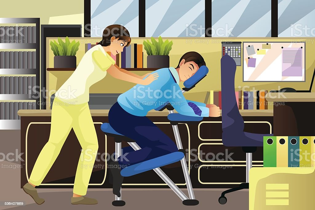 Massage therapist working on a client in an office vector art illustration
