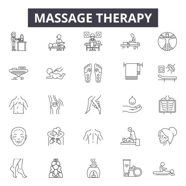 ilustraciones, imágenes clip art, dibujos animados e iconos de stock de iconos de línea de terapia de masaje, signos, conjunto de vectores, concepto lineal, ilustración de contorno - medicina del deporte