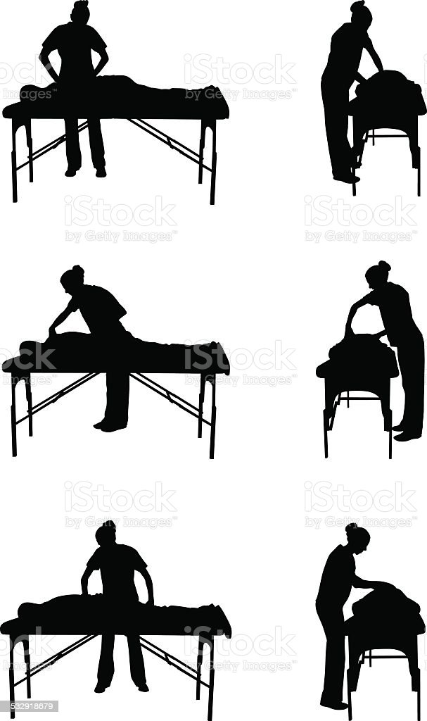 Massage therapy silhouette illustration vector art illustration