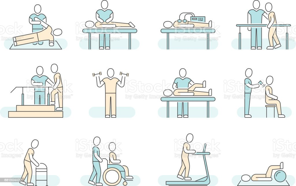 Massage therapy spa physiotherapy vector line medical icons. Therapeutic symbols vector art illustration