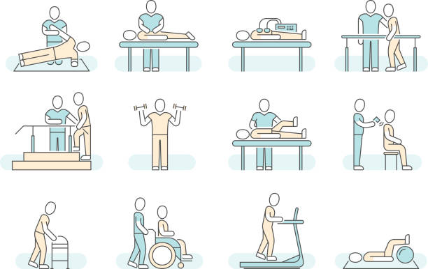 illustrazioni stock, clip art, cartoni animati e icone di tendenza di massage therapy spa physiotherapy vector line medical icons. therapeutic symbols - fisioterapia