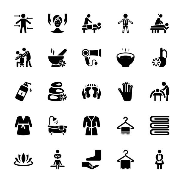 massage-vektor-icons set - fußpflegeprodukte stock-grafiken, -clipart, -cartoons und -symbole
