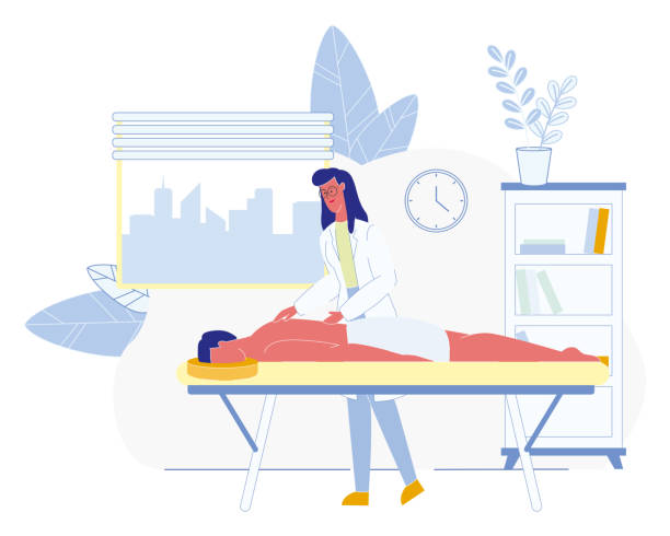 Masseur Massaging Patient in Clinic Room Vector Masseur Cabinet in Clinic or Hospital Flat Vector with Female Physiotherapist Massaging Back to Male Patient Who Lying on Couch Illustration. Physical Rehabilitation, Physiotherapy Procedures Concept massaging stock illustrations