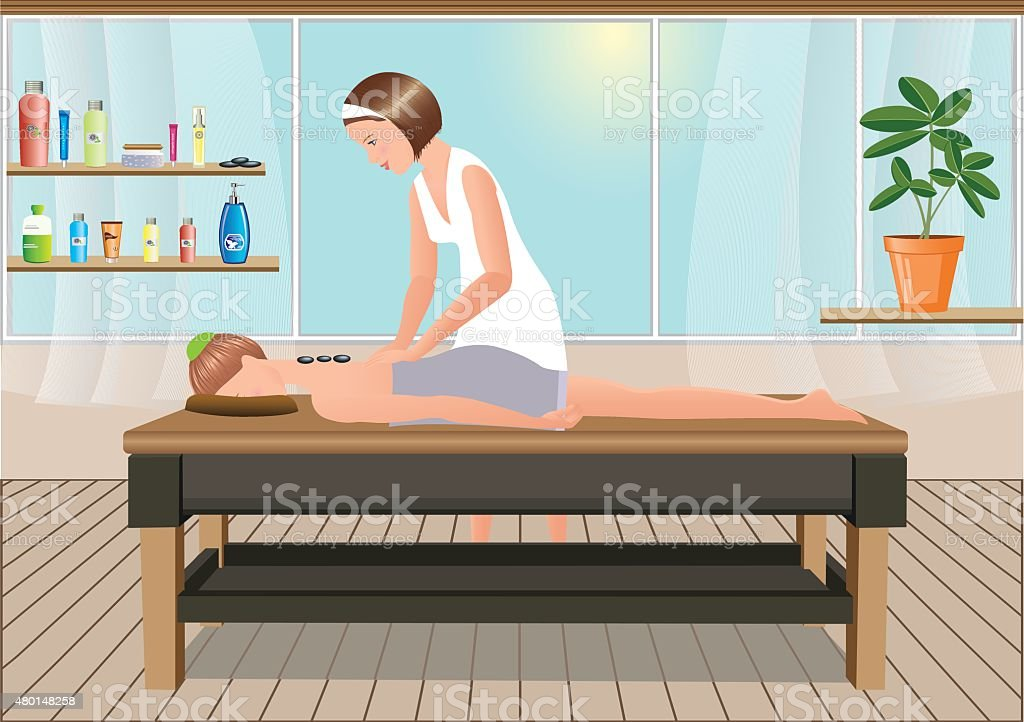 Masseuse performs a massage in the sunny room vector art illustration