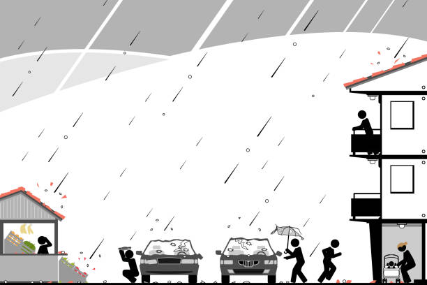 Massive hail storm causes chaos in neighborhood People are looking for shelter in a dangerous weather situation. hailstorm stock illustrations