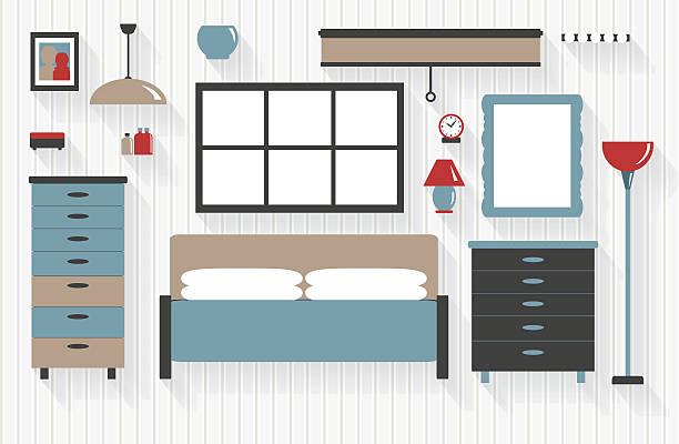 schlafzimmer einrichtung mit schubladen und einem bett - halbwände stock-grafiken, -clipart, -cartoons und -symbole