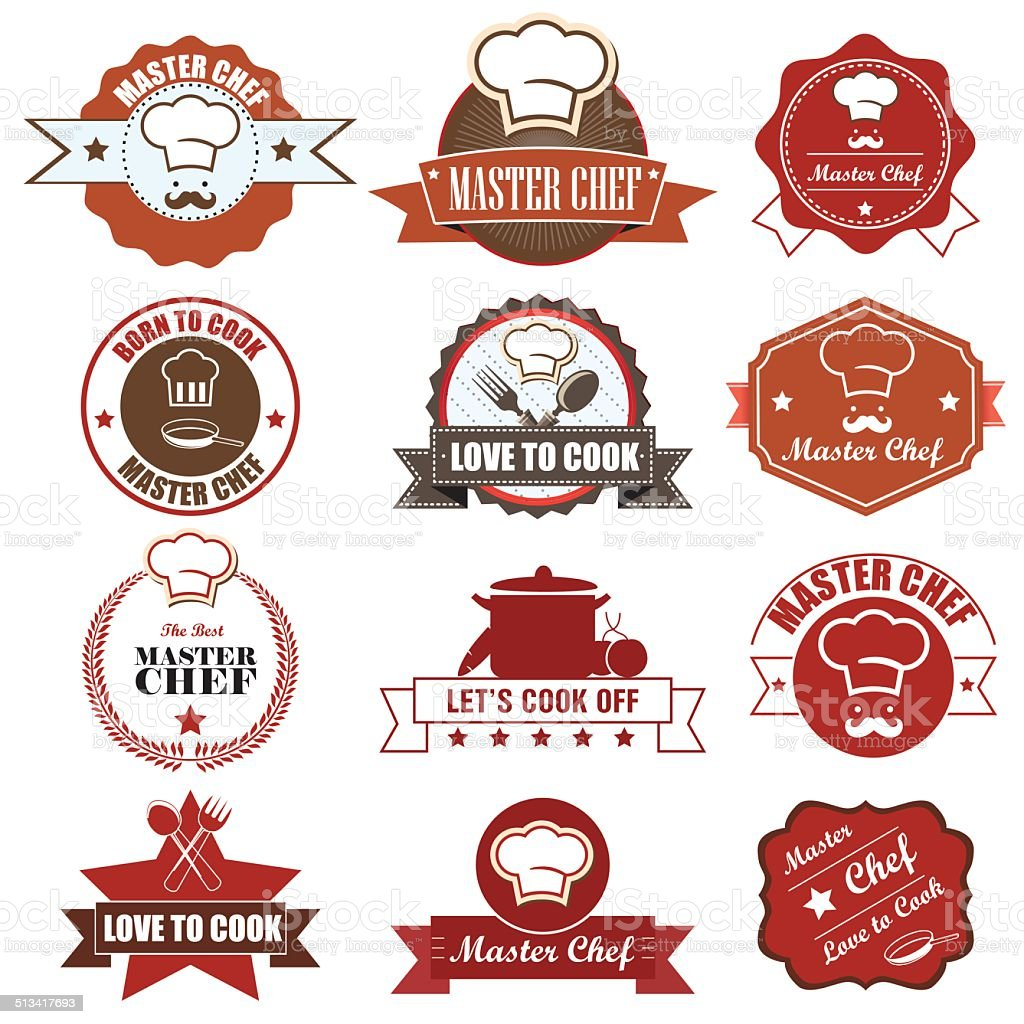 Master Chef Badge and label icon. Vector Illustration eps10 vector art illustration