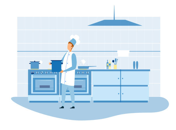 Master Chef Preparing Food in Kitchen Illustration Professional Master Chef Preparing Food in Kitchen Cutout Illustration. Male Cook in Uniform Carrying Pot with Soup. Flat Furniture, Stove, Utensils. Vector Restaurant Cook-Room and Staff at Work cooking clipart stock illustrations