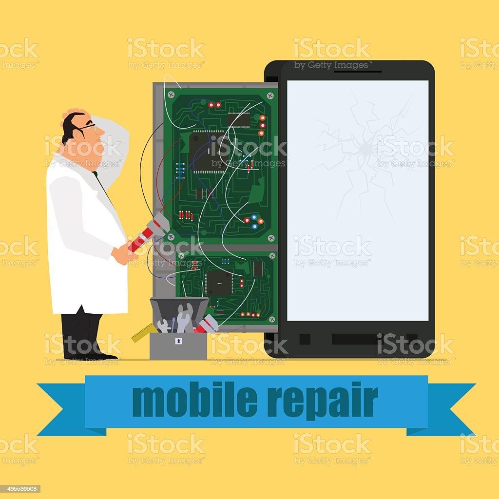 master repairing mobile phone vector art illustration