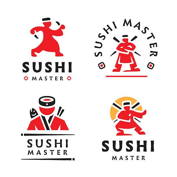 Master Sushi illustration on white background vector art illustration