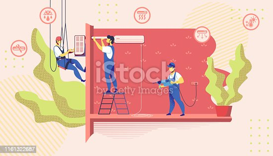 Group of Electrician Call Masters at Work Doing Installation and Repair Air Conditioner at Home, Husband for an Hour, Handy Men Repair Service Fixing Broken Technics. Cartoon Flat Vector Illustration