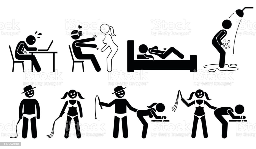 Masturbation, virtual reality for sex, BDSM, and sexual maniac. vector art illustration