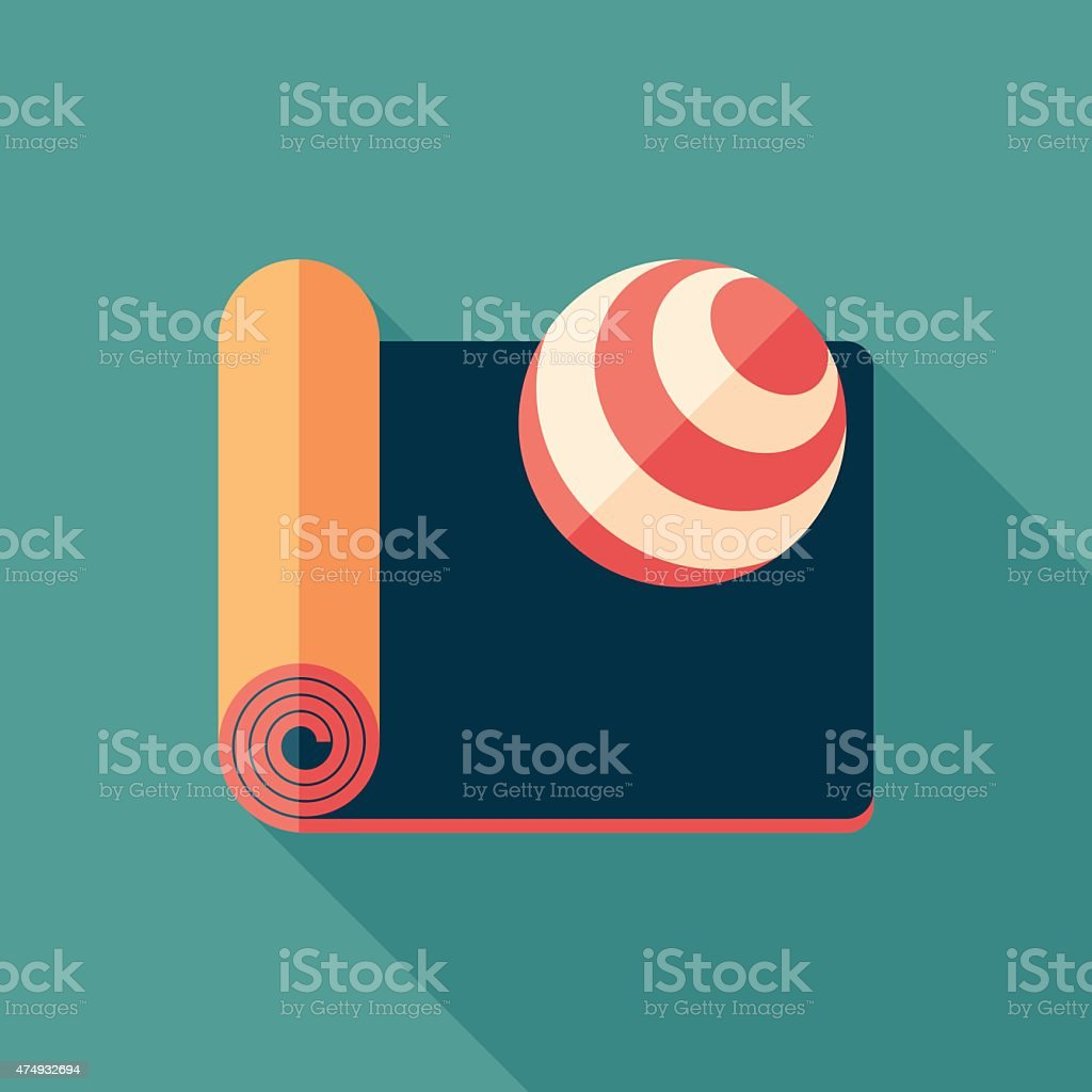 Mat and exercise ball flat square icon with long shadows. vector art illustration