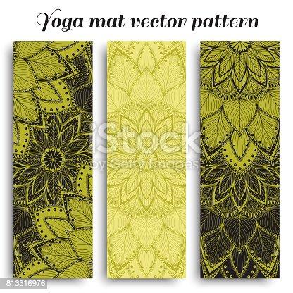 Mat for yoga fitness set. Vector illustration.