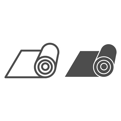 Mat line and solid icon. Rolled protective material for fitness illustration isolated on white. Mat for yoga outline style design, designed for web and app. Eps 10.