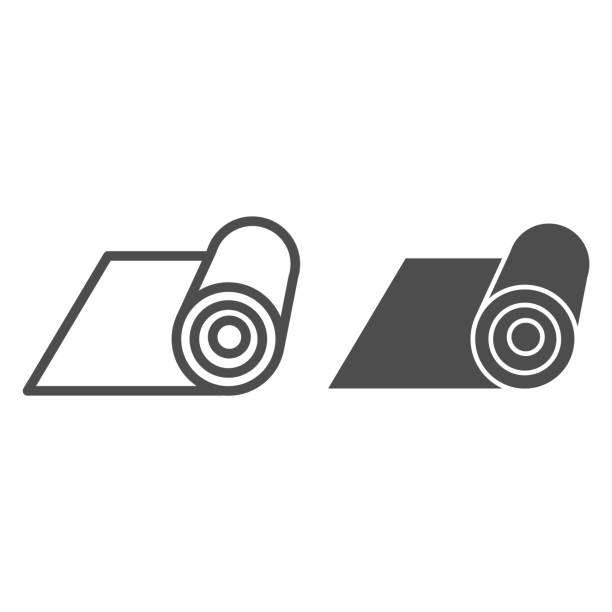 Mat line and solid icon. Rolled protective material for fitness illustration isolated on white. Mat for yoga outline style design, designed for web and app. Eps 10. Mat line and solid icon. Rolled protective material for fitness illustration isolated on white. Mat for yoga outline style design, designed for web and app. Eps 10 active lifestyle stock illustrations