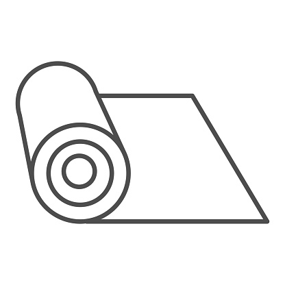 Mat thin line icon. Rolled protective material for fitness illustration isolated on white. Mat for yoga outline style design, designed for web and app. Eps 10.