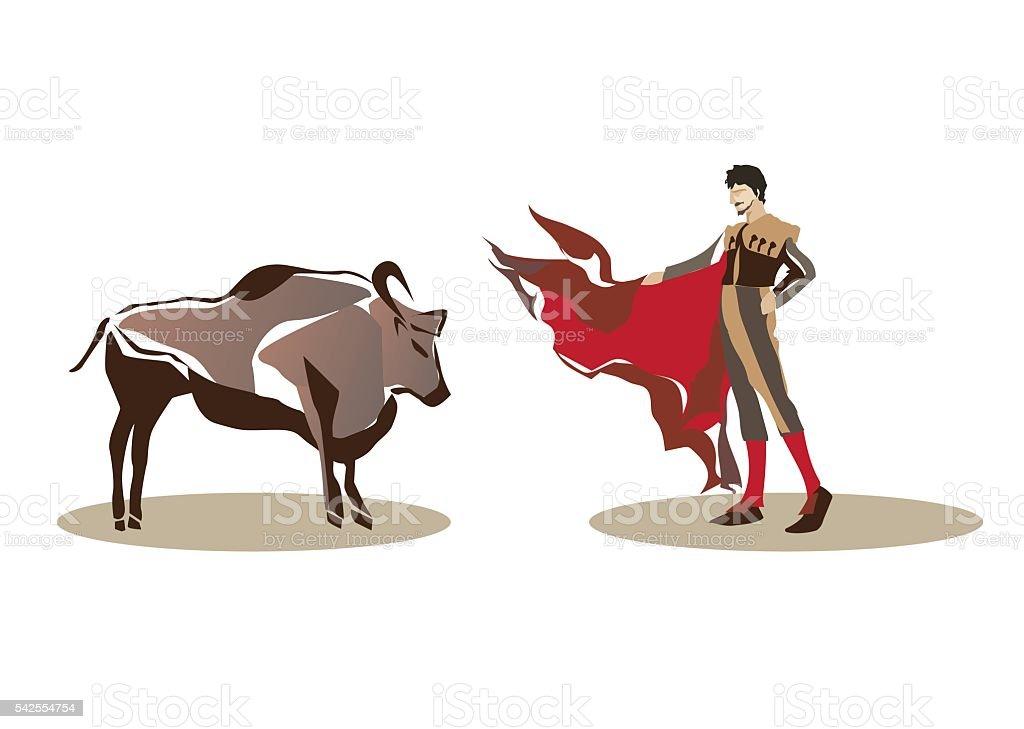 Matador and bullfighting vector art illustration