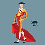 Matador with cape. Corrida de toros. Bullfighting.