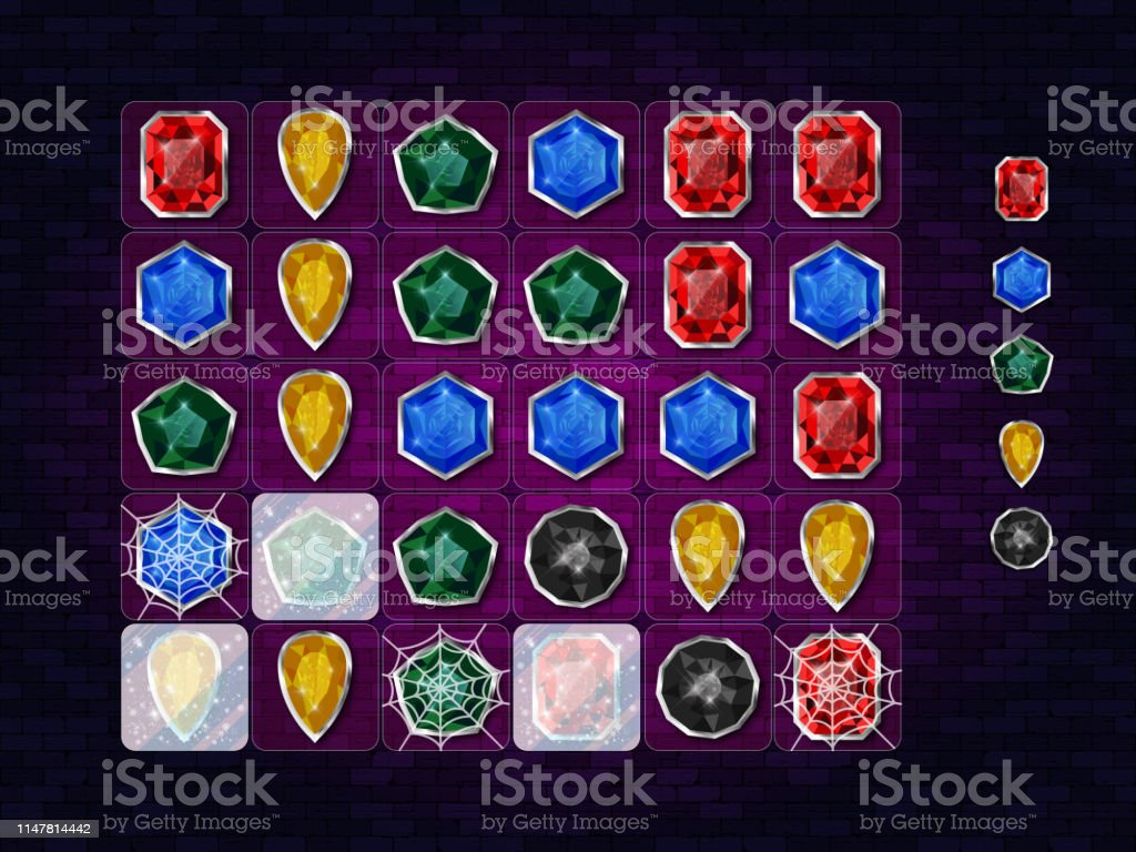 Match 3 Game Color Gemstones Icon Set Design Game Ui Element