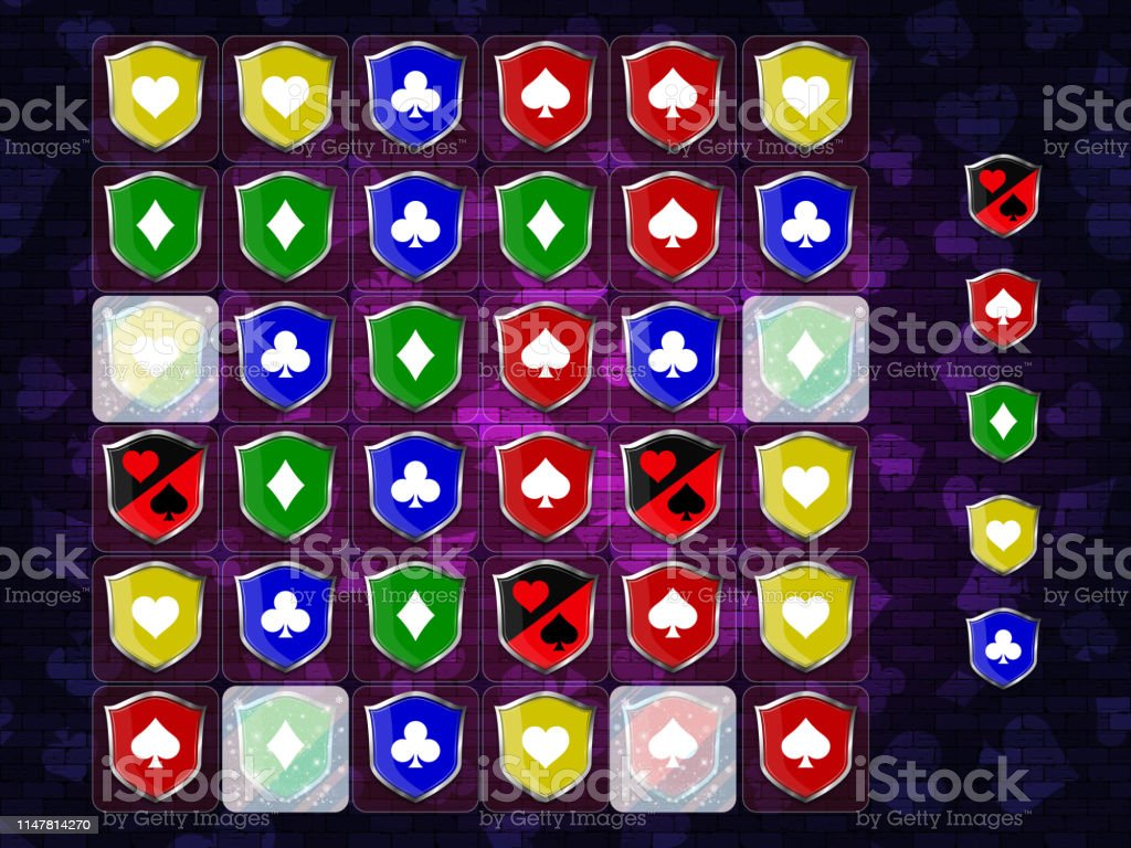 Match 3 Game Poker Suits On The Silver Shield Icon Set