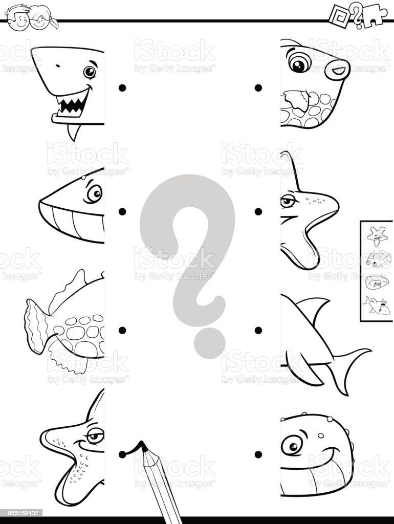 Ilustración De Coincidir Con Mitades De Animales Para