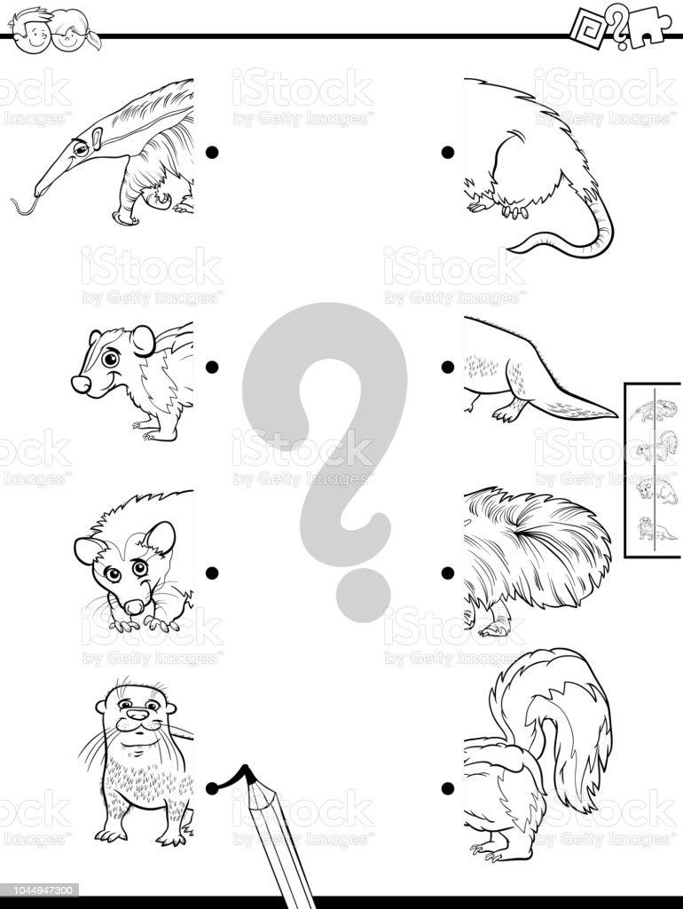 Ilustración De Coincidir Con Mitades De Libro De Color Juego De Animalitos Y Más Vectores Libres De Derechos De Actividad