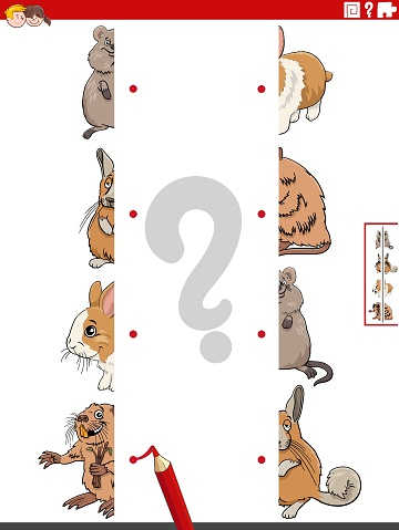 match halves of pictures with animals educational game