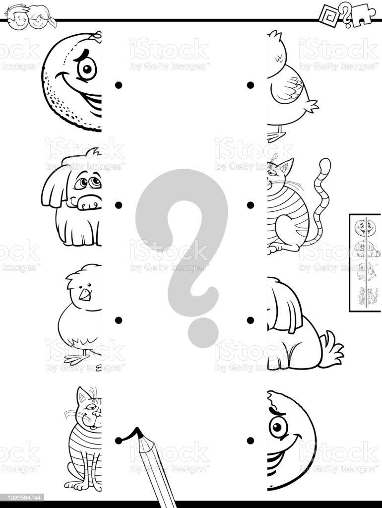 Ilustración De Coincidir Con Mitades De Fotos Con El Libro De Color De Caracteres Y Más Vectores Libres De Derechos De Actividad