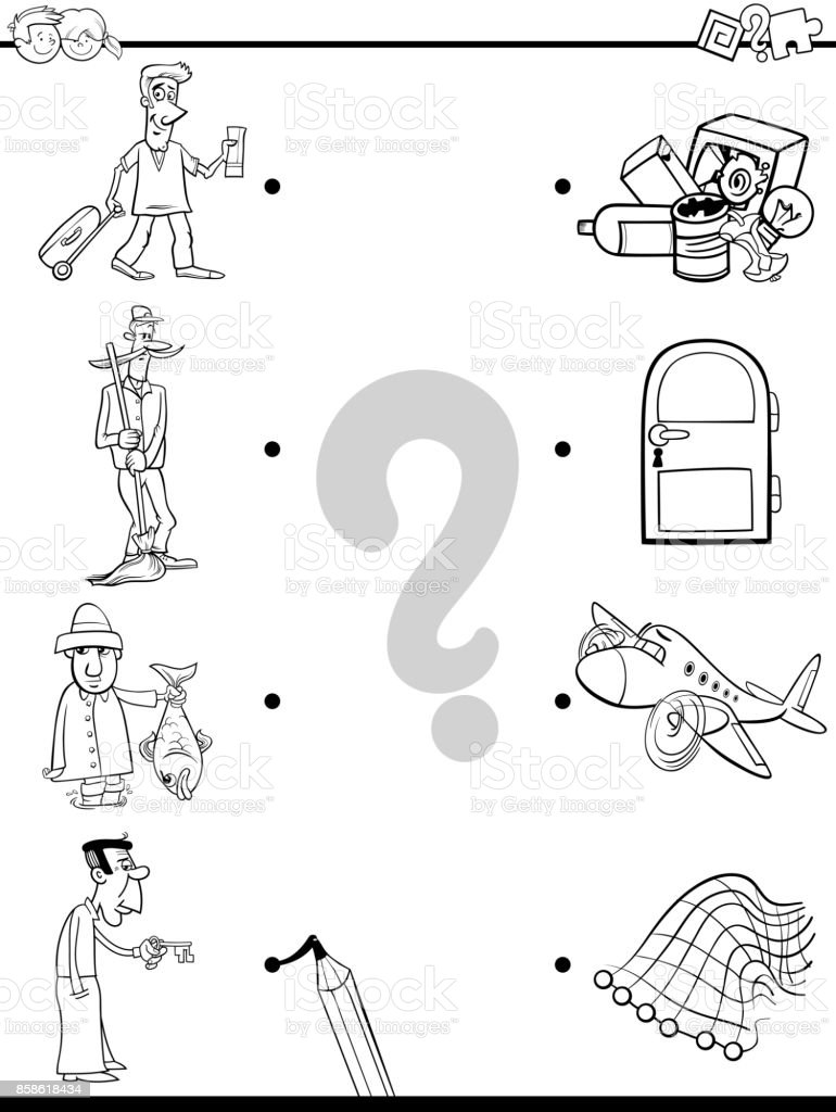 match men and objects coloring book stock vector art