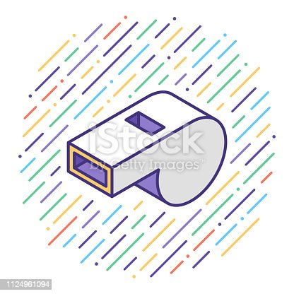 Flat line vector icon illustration of match referee with abstract background.