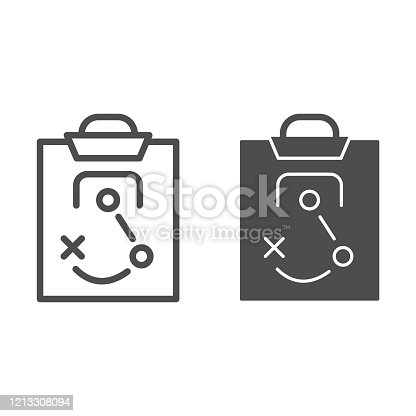 istock Match tactics line and solid icon. Soccer or football game strategy explanation board symbol, outline style pictogram on white background. Sport sign for mobile concept or web design. Vector graphics. 1213308094