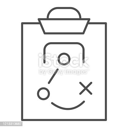 istock Match tactics thin line icon. Soccer or football game strategy explanation board symbol, outline style pictogram on white background. Sport sign for mobile concept or web design. Vector graphics. 1213313687