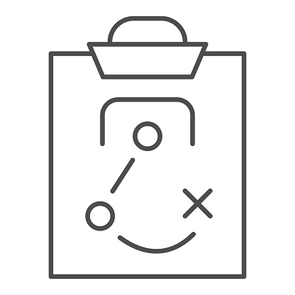 Match tactics thin line icon. Soccer or football game strategy explanation board symbol, outline style pictogram on white background. Sport sign for mobile concept or web design. Vector graphics.