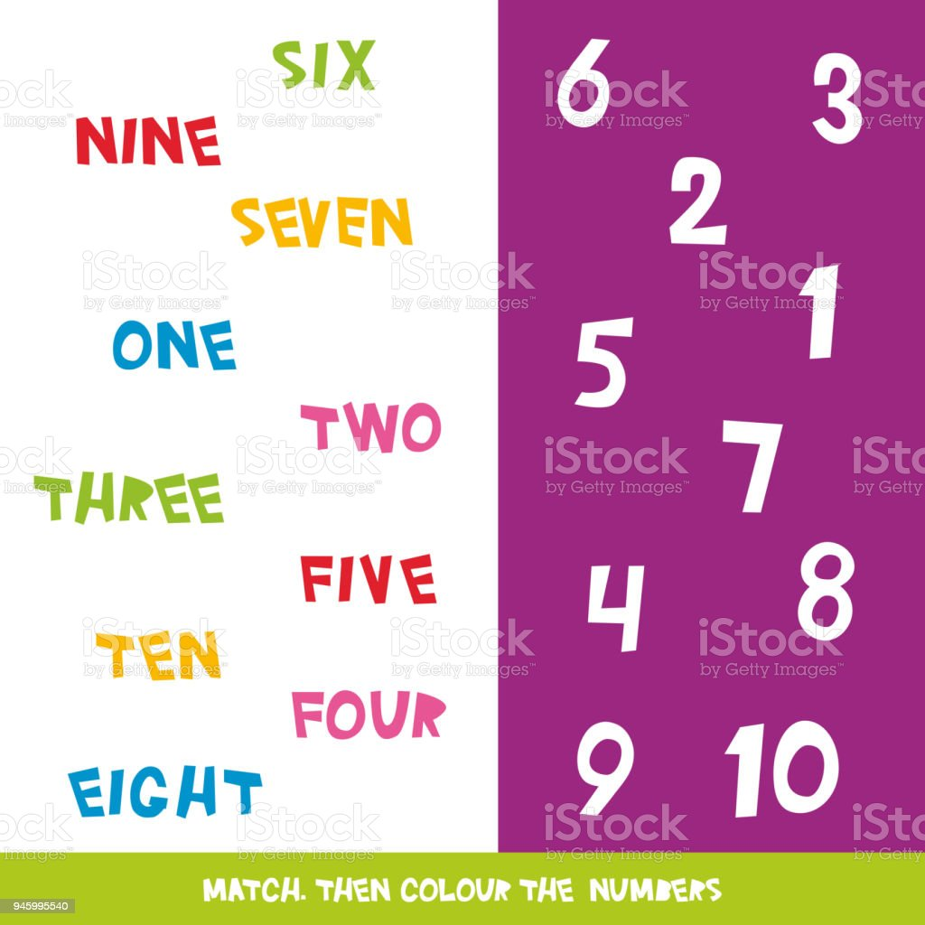 Match Then Colour The Numbers 1 To 10 Kids Words Learning Game ...