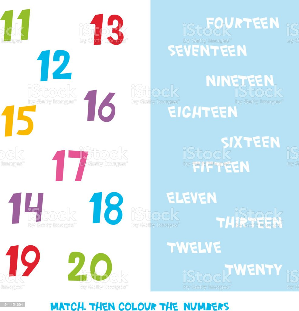 Übereinstimmen Sie Dann Farbnummern Sie Die 11 Bis 20 Kinder Wörter ...