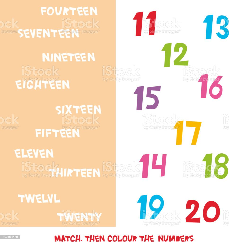 Match Then Colour The Numbers 11 To 20 Kids Words Learning Game ...