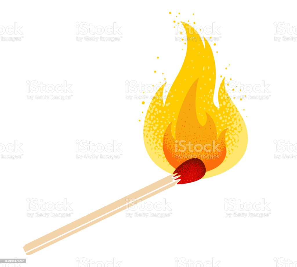match with fire vector art illustration