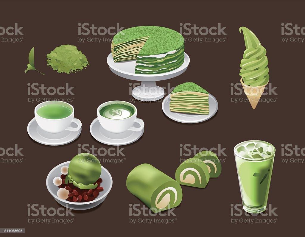 Matcha drinks and dessert vector art illustration