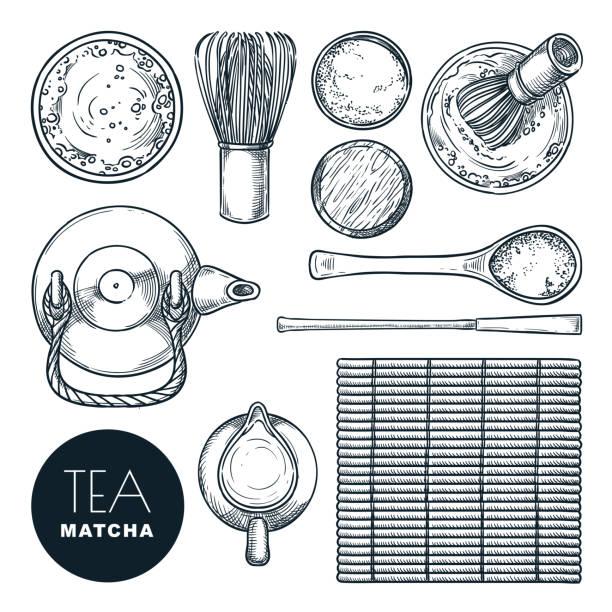 抹茶抹茶成分セット。日本茶道、トップビューベクトル手描きスケッチイラスト。 - 抹茶点のイラスト素材/クリップアート素材/マンガ素材/アイコン素材