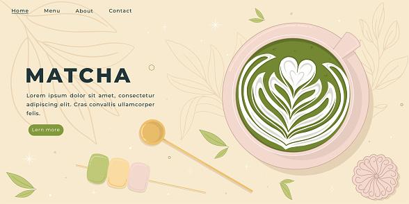 Matcha Latte Art Vector Illustration