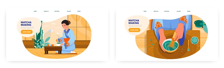 Matcha tea landing page design, website banner vector template set. Asian woman making traditional japanese green tea.