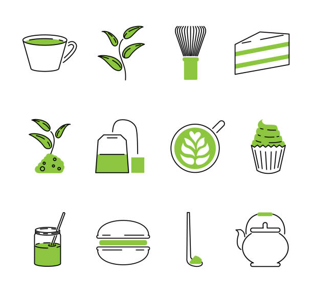 抹茶茶ベクトル アウトライン アイコンのコレクションを設定します。日本の伝統的な飲み物 - 抹茶点のイラスト素材/クリップアート素材/マンガ素材/アイコン素材